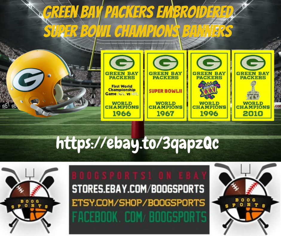Green Bay Packers embroidered Super Bowl champions banners. Show off your Pack pride with these great banners, perfect for the man cave or even the office.  https://t.co/g81dSszIde  #NFL #Packers #GreenBay #GreenBayPackers #GoPackGo #football #boogsports https://t.co/XHQonuh4am