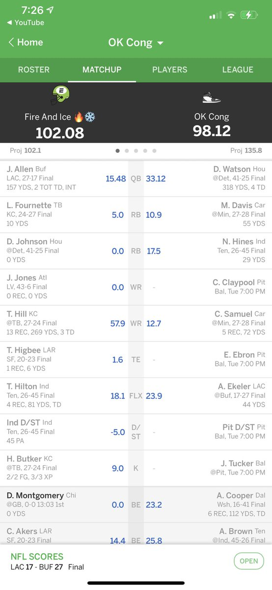 As long as the game on Tuesday happens then I should be good 🤦🏾‍♂️   @MyFantasyLeague   #FantasyHelp #Fantasy #FantasyFootball #FantasyFootballAdvice #fantasy #FFNow #FantasyFootballNow #FantasyFootballHelp #FantasyFootballFlex