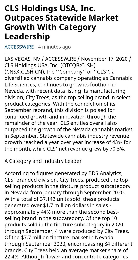 $CLSH News Outpaces Statewide Market Growth https://t.co/KJ2o5XtIV8   #cannabis #marijuana #CBD #wsj #nytimes #business #forbes #latimes #CSE #canadianstockexchange #barronsonline #IBDinvestors #ESPN #WGN #Investors #Benzinga #VireoHealth #rwbbrands #wearejushi #1933Industries https://t.co/vsyVx7Bijj
