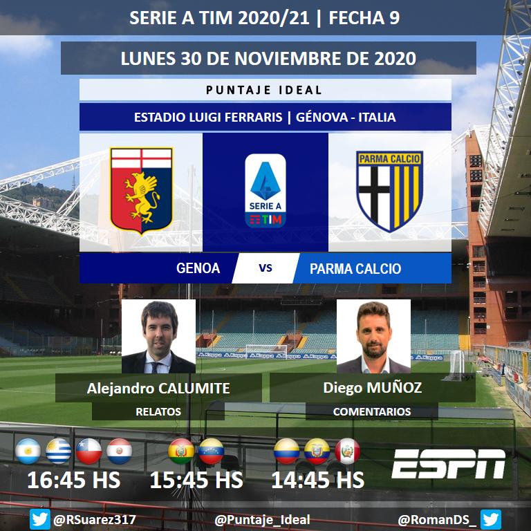 ⚽ #SerieA 🇮🇹 | #Genoa vs. #Parma 🎙 Relatos: @alecalumite 🎙 Comentarios: @diegomunoz75 📺 #ESPN Sudamérica 💻📱 @ESPNPLAY 🤳 #SerieAxESPN - #GenoaParma Dale RT 🔃 https://t.co/Q83oqSE6Y8
