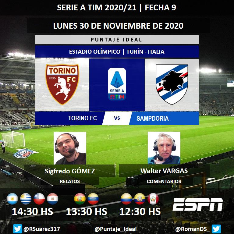 ⚽ #SerieA 🇮🇹 | #Torino vs. #Sampdoria 🎙 Relatos: @SigfreGomez 🎙 Comentarios: Walter Vargas 📺 #ESPN Sudamérica 💻📱 @ESPNPLAY 🤳 #SerieAxESPN - #TorinoSamp Dale RT 🔃 https://t.co/NtbkNkfvrx