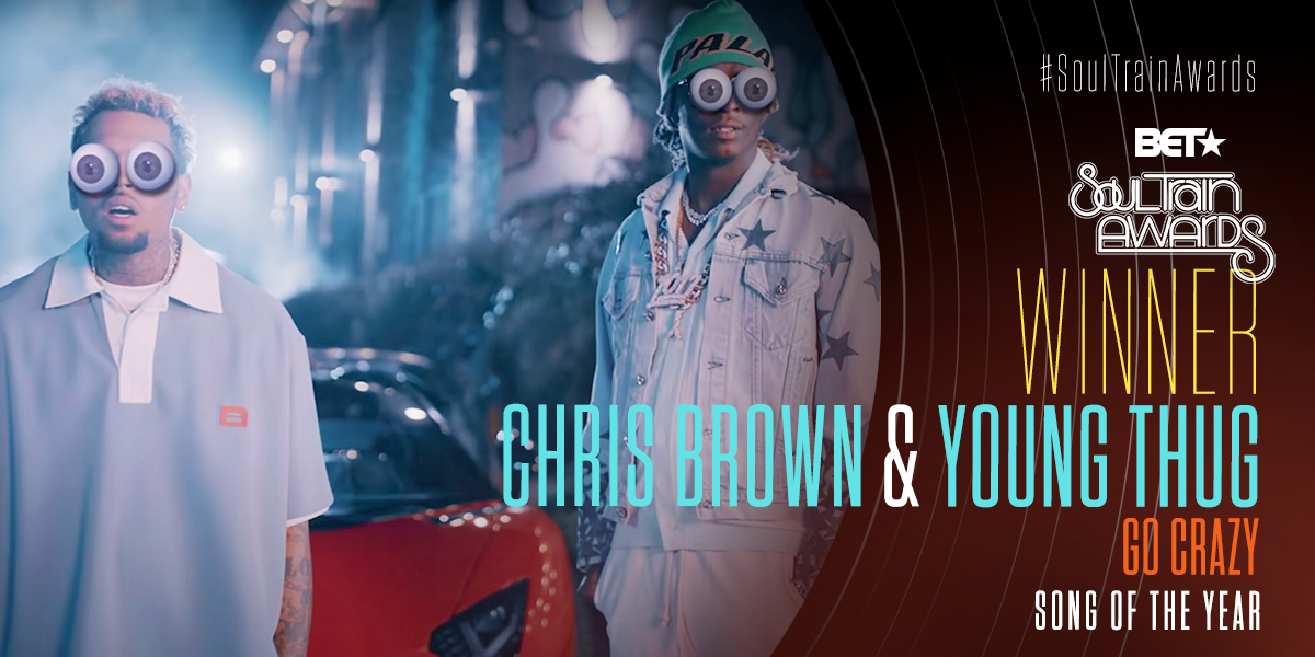 S/O to @chrisbrown & @youngthug for winning Song of the Year! #SoulTrainAwards https://t.co/FWwQU2if2W