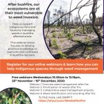 Join the State Wide Integrated Flora and Fauna Teams (SWIFFT) for their weekly webinar series that focuses on sharing practical knowledge so everyone can contribute to bushfire recovery. https://t.co/L9Yz3RtKrY #Bushfirerecoverysa