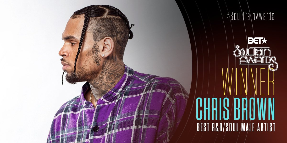 Congratulations to @chrisbrown for winning Best R&B/Soul Male Artist! #SoulTrainAwards