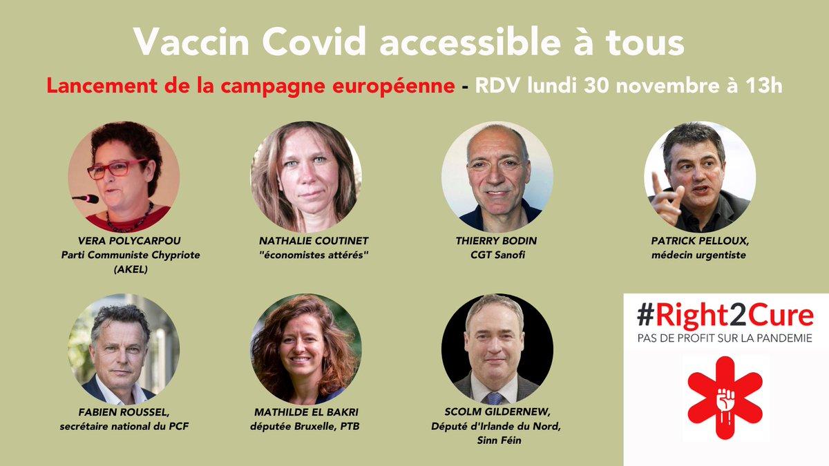 Vaccin Covid accessible à tous : Lancement de la campagne européenne  Diffusion de la conférence de presse ce lundi à 13h (en léger différé) sur le facebook et youtube du PCF https://t.co/3Z3gOrbhaC
