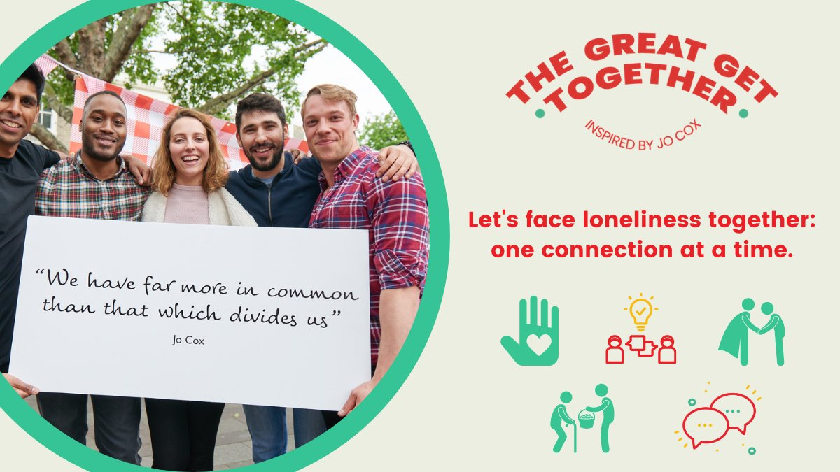 🎉The Great Winter Get Together has begun!🎉 Here are 5️⃣ ways to get involved: 🙏 Say thanks to your local hero 🤗 Show someone you care 🙌 Reach out to an old friend 💁 Learn about loneliness 🙋♂️ Help your community Follow @great_together or visit: greatgettogether.org