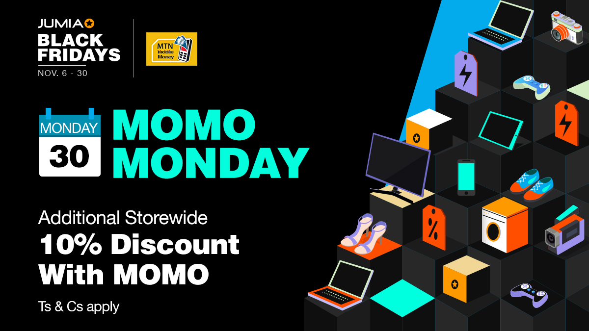 It's Officially MoMo Monday!  Click https://t.co/UVmq6nG6eP and enjoy an additional 10% discount with MTN Mobile Money! It's the last minute deals from #JumiaBlackFridays! https://t.co/ypaxYnLLZP