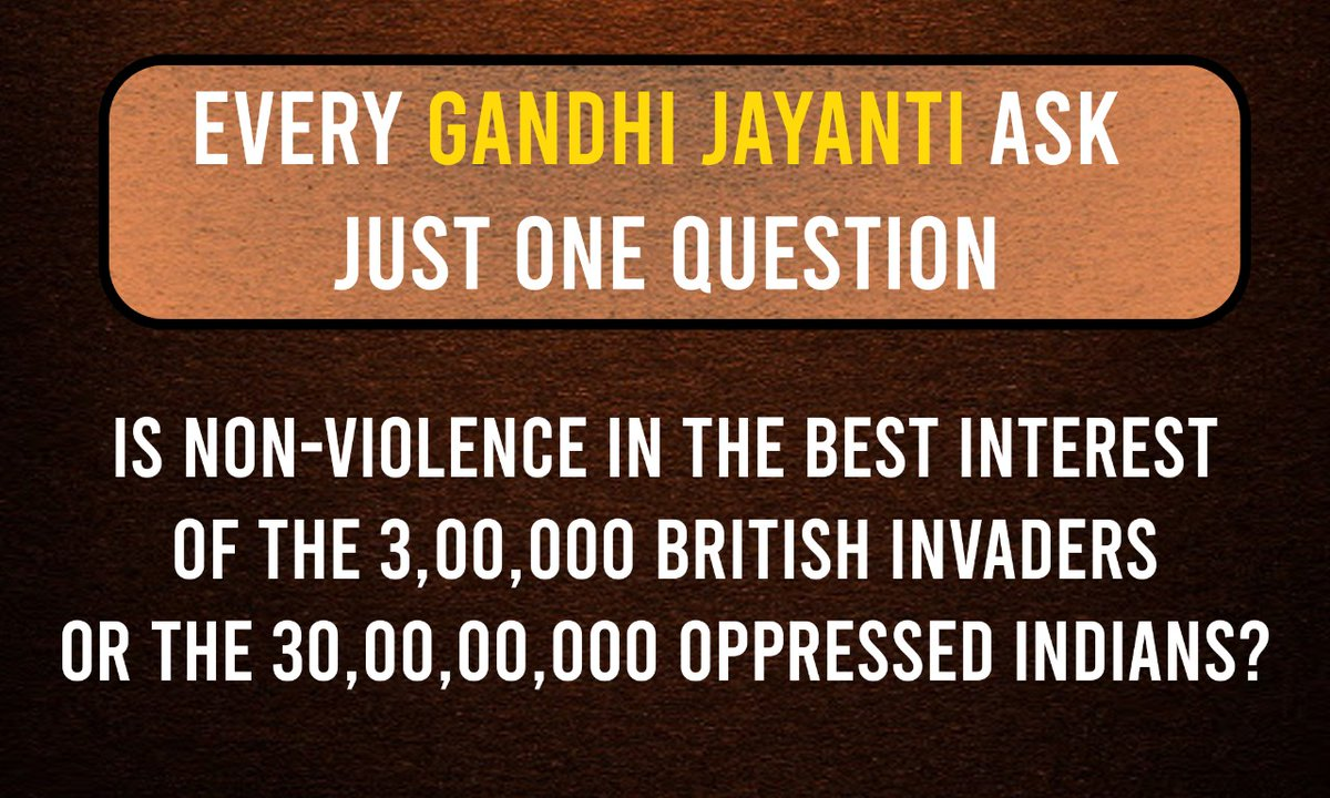 #Gandhi's selective ahimsa was proof of whom he worked for.   He recruited Indian soldiers to fight for the British in WW1 and WW2 but inexplicably did not condone violence against the British during our freedom struggle...interesting.   #MahatmaGandhi #gandhijayanti