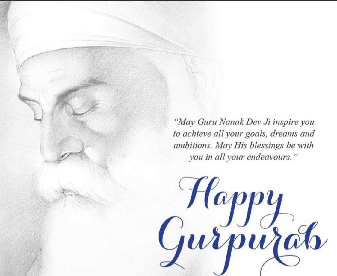 Happy #Gurupurab to all. May #GuruNanakDevJi bless us all !! Peace, Happiness and Good health. 🙏🙏🙏 #Blessings