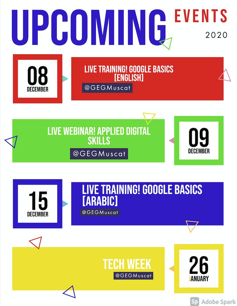 🗓️ UPCOMING 2020 #GEGMuscat Google Basics Live Trainings and Applied Digital Skills! End 2020 with #PD and take 2021 classrooms🏫 & students🧑🎓👩🎓👨🎓 to the next level. @AmmanGEG @GEGKuwait @GegKenya @gegjeddah @CPS_SQU #growwithgoogle #EduTech #TechTipTuesdays #Google #BuildMuscat