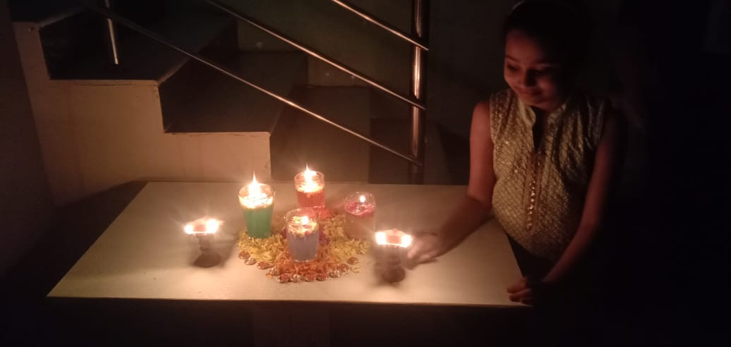 Diya decoration and Diwali celebration pictures of grade 3 and 5 students.  #Diwali #HappyDiwali #SafeDiwali #Diwali2020