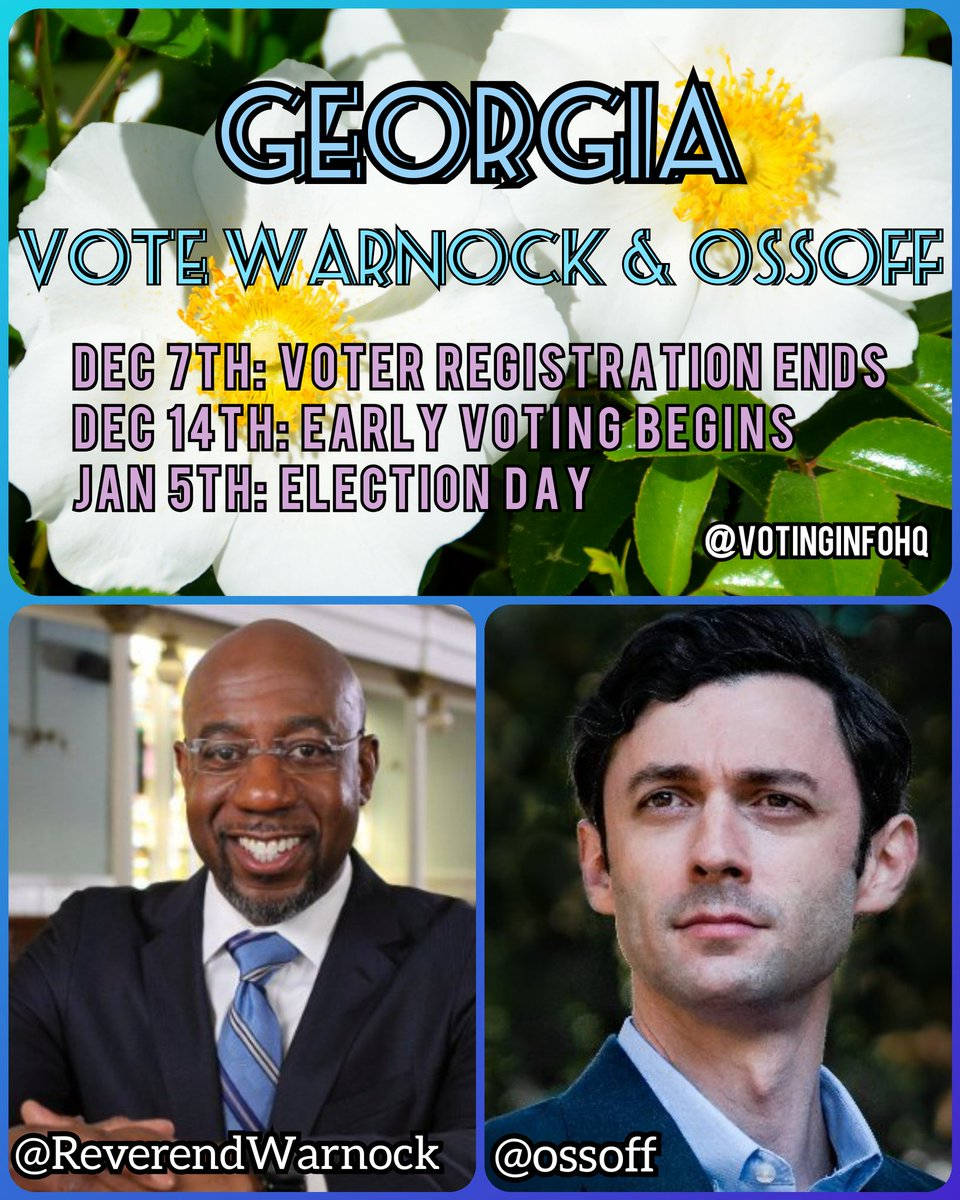 Trump & the GOP Senate won't #stopthestupid   🍑 Georgia, vote for @ReverendWarnock & @ossoff  🗳 Dec 7th: Voter registration deadline - check your status or sign up here:   🗳 Dec 14th: Early voting starts  🗳 Jan 5th: Election Day!!! Get your #VotingSquad