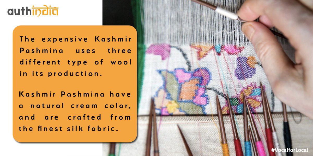 Termed as 'soft gold' in Kashmiri, Pashmina is six times finer than human hair. #VocalForLocal #vocal4GI #pashmina  #art #ArtistOnTwitter  @AlPallavi @PoojaB1972
