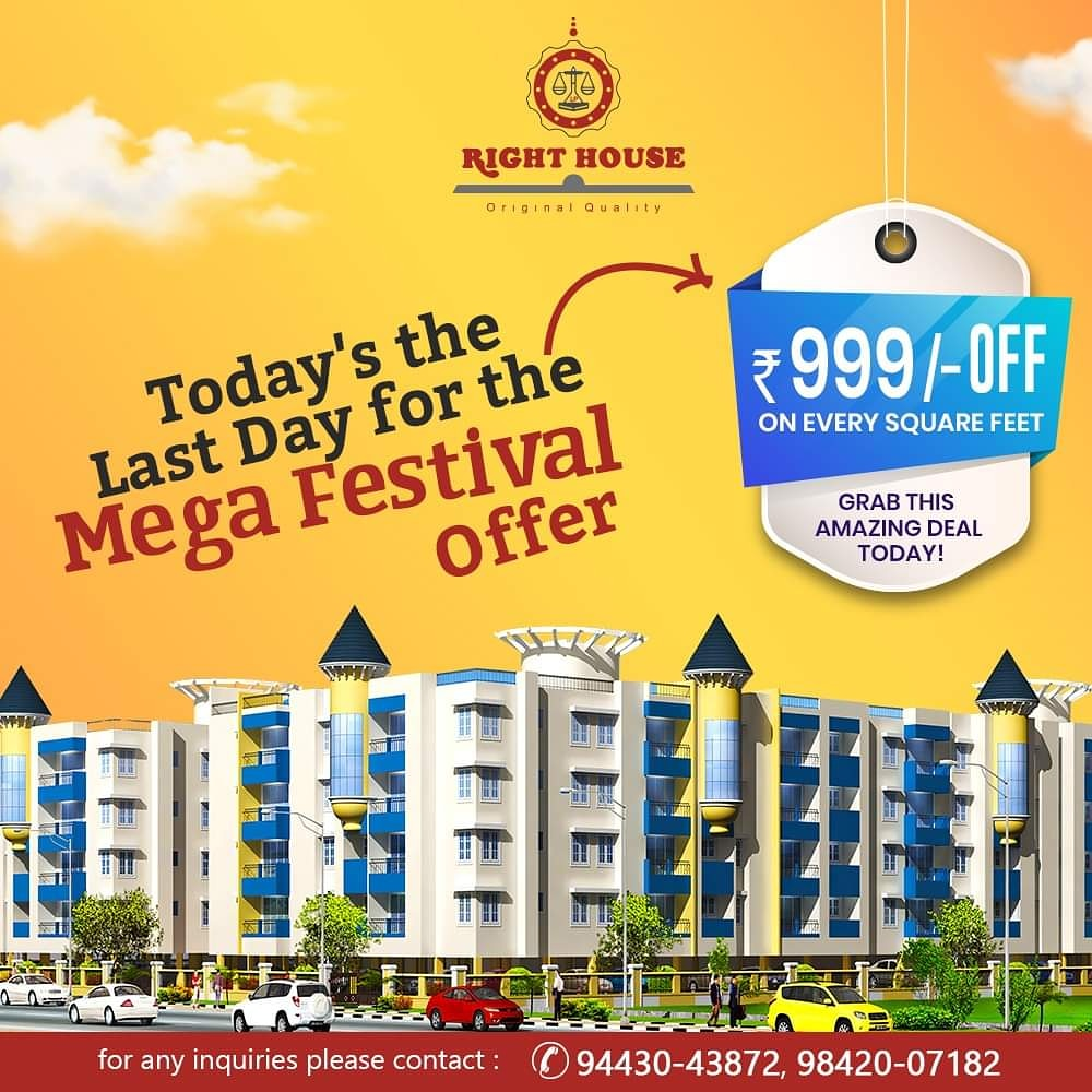 Book Your Dream Home at the Right House and get Rs 999/- off on every square foot!   Grab this amazing deal today!  Explore more at -  or call us on +91 9842007182  #DreamHome #DreamHouse #RealEstate #PropertyDevelopment  #DiwaliOffer #Diwali2020 #MegaOffer
