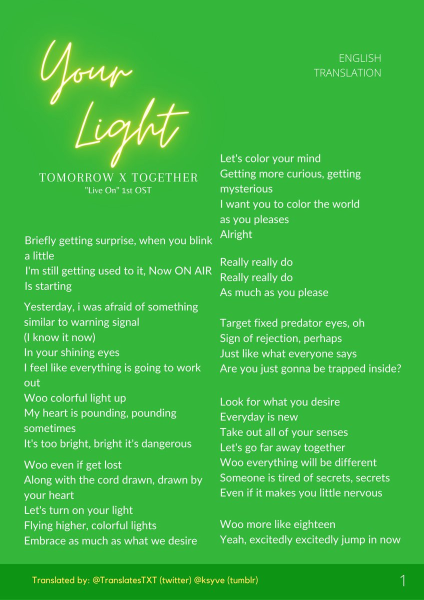 "TOMORROW X TOGETHER — ""Your Light"" Lyrics English Translation  #TOMORROW_X_TOGETHER #TXT  #YourLight #YourLightWithTXT  @TXT_members @TXT_bighit"