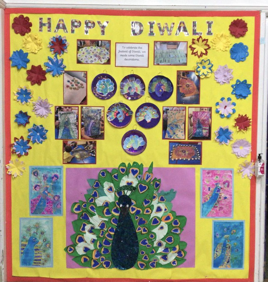 Look at our beautiful Diwali display, made up of art work from different year groups, which we are very proud of. #Diwali #diwali #Diwali2020 #primaryschool #primaryschooldisplay #schooldisplay #celebration #celebratediwali #happydiwali #happydiwali2020