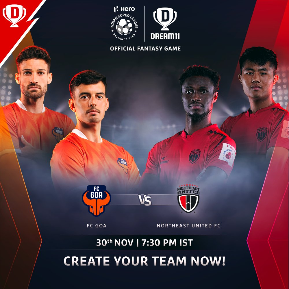Looking for their first win of the season, @FCGoaOfficial face an in-form @NEUtdFC side in the #HeroISL tonight.  Download the app and make your #Dream11 now. Click: . #LetsFootball #FCGNEUFC @IndSuperLeague