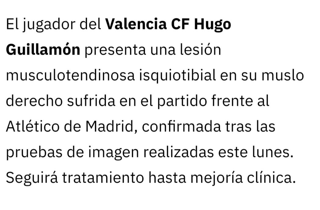 .@HGuillamon sufre una lesión musculotendinosa isquiotibial en su muslo derecho sufrida en el #ValenciaAtleti y que ha informa el @valenciacf en un parte médico.