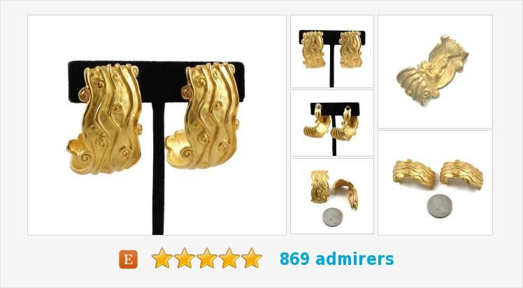 Vintage Karl #Lagerfeld #Chanel Designer Textured Gold Large Half #hoop #earrings | Etsy   (Tweeted via )