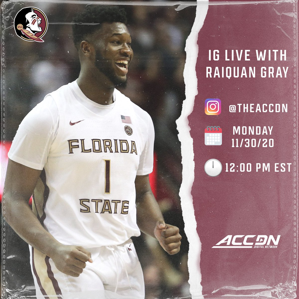 Raiquan Gray will be on IG Live with us at noon today to talk @FSUHoops!   Tune in!  #NewBlood | @Tgray4 https://t.co/WkZ4tCbwCr