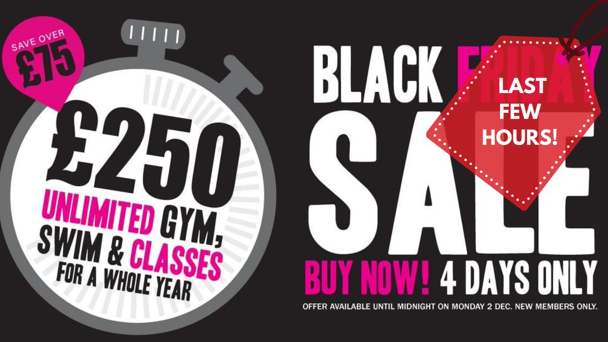 🚨𝐅𝐈𝐍𝐀𝐋 𝐖𝐀𝐑𝐍𝐈𝐍𝐆! 🚨  Only 3 hrs left to take advantage of our best offer of the year. Buy an All Inclusive Gym Membership for £250, saving you £75! Our #BlackFriday offer helps you look after yourself as well as looking after your bank balance https://t.co/JbCjIjAxmn https://t.co/1fVqEufUKu