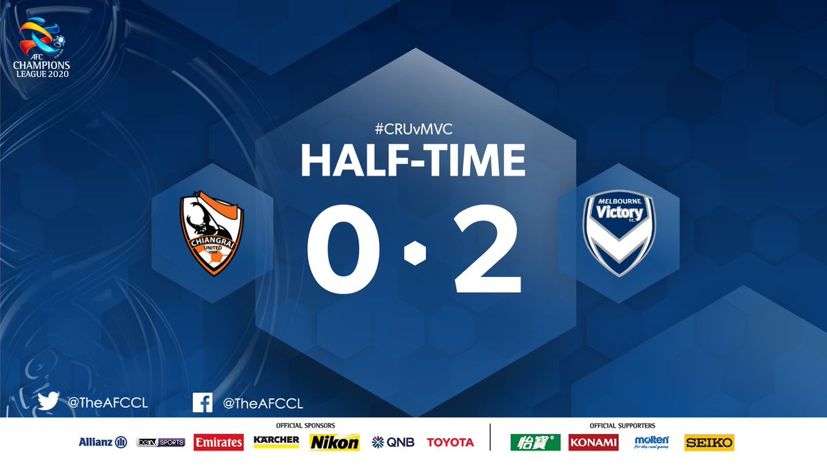HALF-TIME | 🇹🇭 Chiangrai United 0-2 @gomvfc 🇦🇺  🏎️ Goals from Brimmer and Folami have Melbourne in the driver's seat at half-time. Can Chiangrai find their way back into it?  #CRUvMVC | #ACL2020