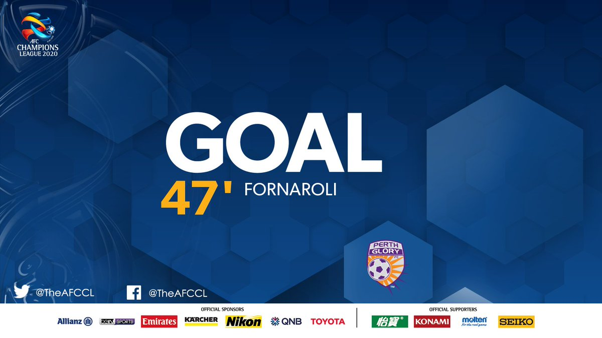 GOAL! | 🇨🇳 Shanghai Shenhua 0-1 @PerthGloryFC 🇦🇺  💥 Perth take the lead on the stroke of half-time after a stunning free-kick by Bruno Fornaroli.  #SHEvPER | #ACL2020