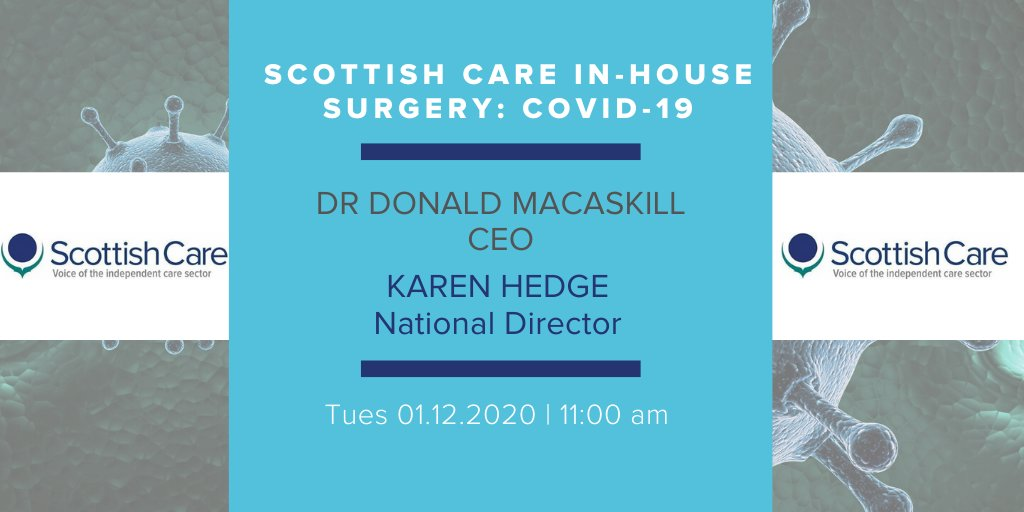 @scottishcare members - remember to join us for our #COVID19 in-house surgery tomorrow at 11am with @DrDMacaskill and @hegeit.  This is your chance to ask any questions you may have. Details now available on the Members Area.