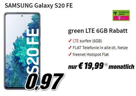 #CyberMonday Deal:  ➤ #Galaxy S20 FE für 0,97€ + 6GB #Telekom / #Vodafone Flat für 19,99€  Alle Infos zum #Deal hier: https://t.co/ct5vxr1GYJ https://t.co/mbBEpwLfzF