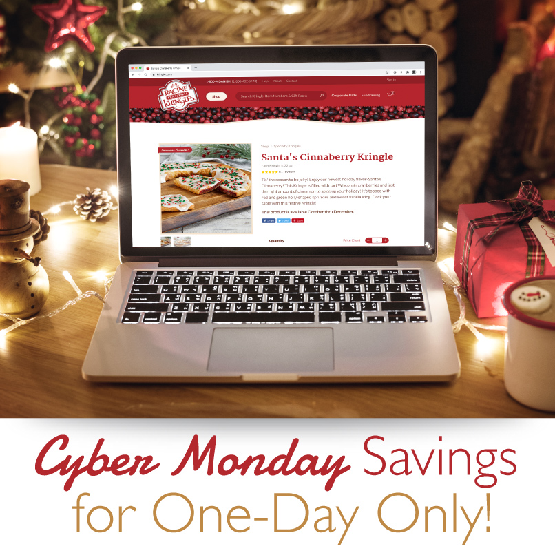 It's Cyber Monday! One Day Sale! Receive 15% off your order of $55 or more at . Promo Code: CYBER20 #kringle #holidays #Wisconsin #CyberMonday