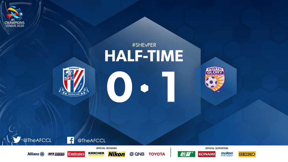 HALF-TIME | 🇨🇳 Shanghai Shenhua 0-1 @PerthGloryFC 🇦🇺  🇺🇾 Bruno Fornaroli's lovely free-kick in first-half stoppage time separates the sides. Can the Australian team hold on for their first #ACL win?  #SHEvPER | #ACL2020