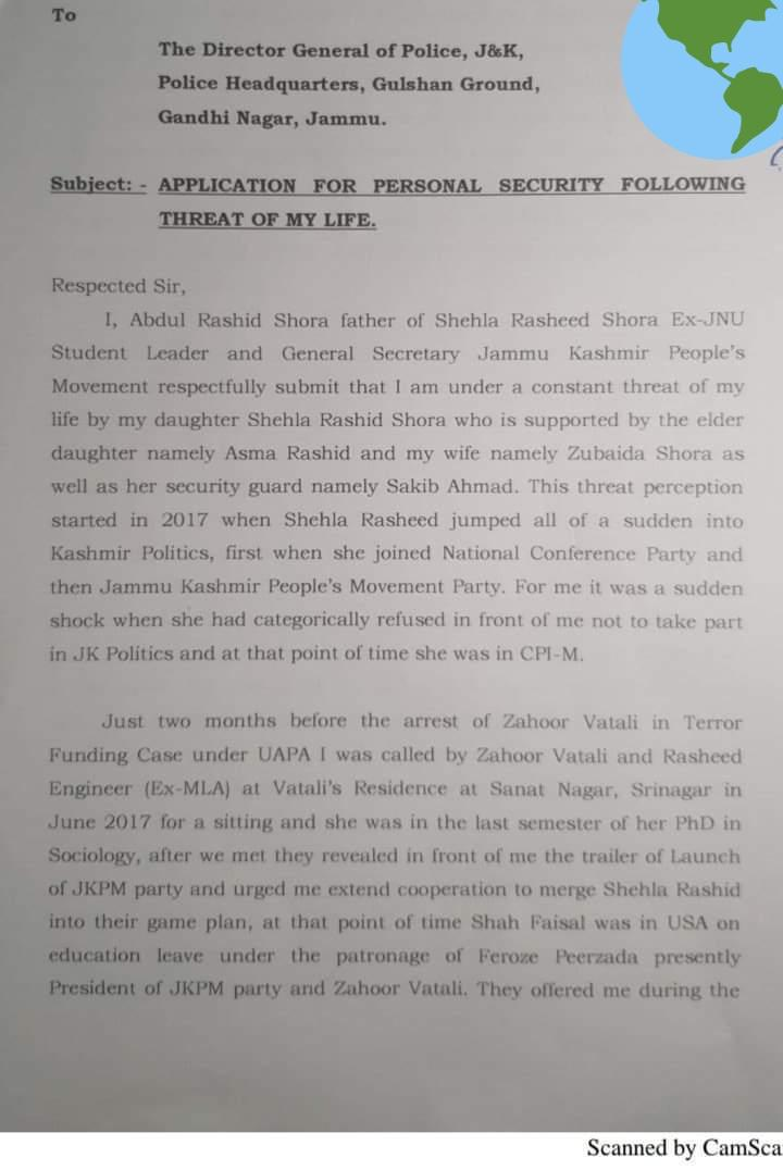 Daughter is threatening father for his non-support for her Anti-National activities Shehla Rashid's Father Abdul Rashid Shora filed complaint against her, says-'I'm facing death threat from my daughter .@Shehla_Rashid. 'There r anti-national activities going in my house.' He said