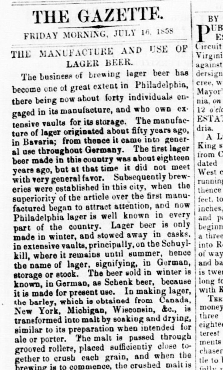 """So the 1840 bit about how lager was introduced to America via Philadelphia? Here it is in an 1858 DC paper...which also claims it originated """"about fifty years ago in Bavaria"""" which would date it ~1808 #lager #beerhistory Alexandria gazette. 16 July 1858. https://t.co/lkA0srZqfn"""