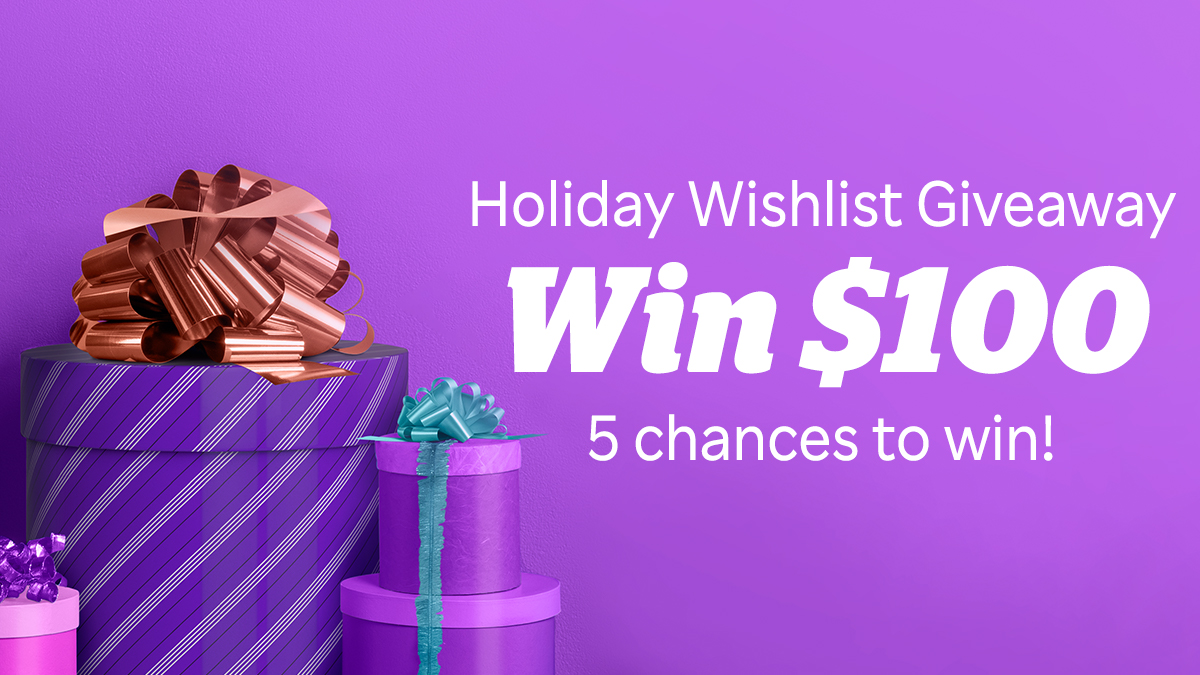 What better way to start Cyber Monday than with a giveaway? We're giving 5 of YOU $100 each 💸  To enter: 1. Follow us on Twitter 2. Tell us what's at the top of your holiday wishlist (Cozy slippers? Fancy vacuum? New TV?)   Psst: Visit us on Facebook for another chance to win 🤑
