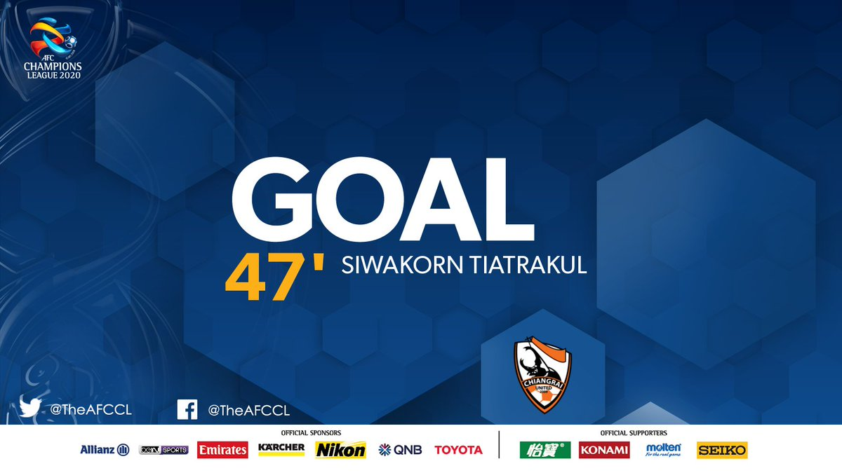 GOAL! | 🇹🇭 Chiangrai United 1-2 @gomvfc 🇦🇺  💥 Siwakorn Tiatrakul's free kick sails over the keeper and directly into the top corner. Game very much on now.   #CRUvMVC | #ACL2020