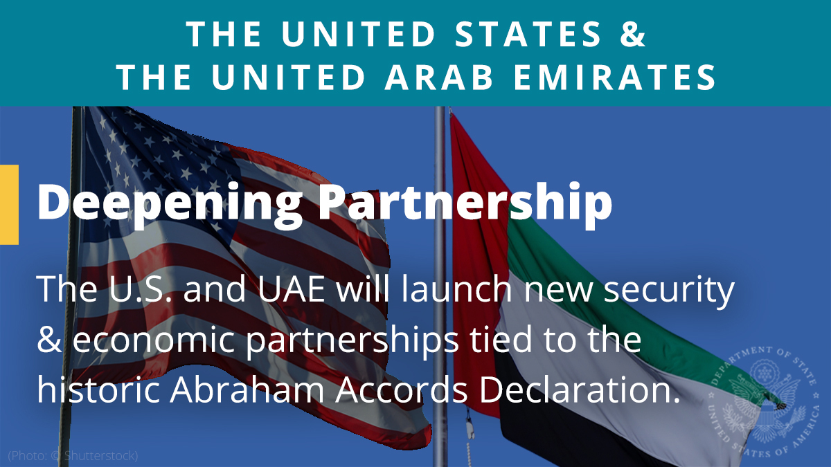 The U.S. and UAE are deepening our bilateral ties with a strategic dialogue this year, participation in the Expo 2020 Dubai World's Fair, and new partnerships tied to the historic Abraham Accords Declaration. https://t.co/8BamZZ9RFG https://t.co/toei4jKJsC