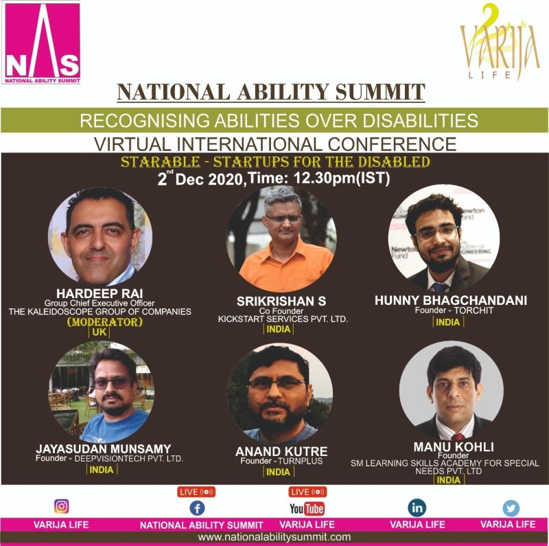 Hear our Founder, @anandkutre  speak as a panelist at the National Ability Summit (Virtual International Conference) @VarijaLife  on 2nd December, 2020 at 3pm. Kindly register to know more about us and be a part of the change we are trying to bring in: https://t.co/FS8iooiy92 https://t.co/FwgqkzbTeE