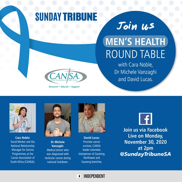 FB Live: Join Cara Noble social worker from @CANSA in conversation with Dr.Michele Vanzagh and David Lucas a prostate cancer survivor as they discuss everything about men's health via @SundayTribuneSA Facebook Live today at 14:00  #MensHealth #prostatecancer #cancersurvivor https://t.co/5xeEXVbGi0