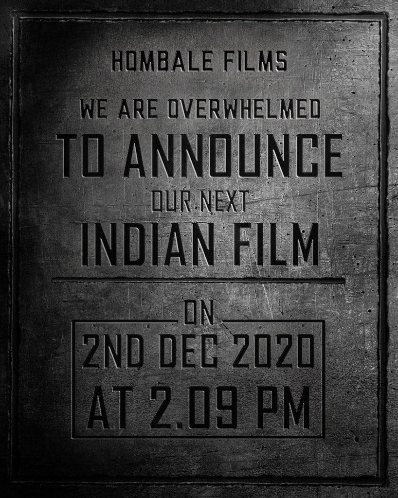 Huge announcement on its way from the makers of the #KGF series!  #SidK @hombalefilms  @vkiragandur #Prabhas #PrashanthNeel  #HombaleFilms7