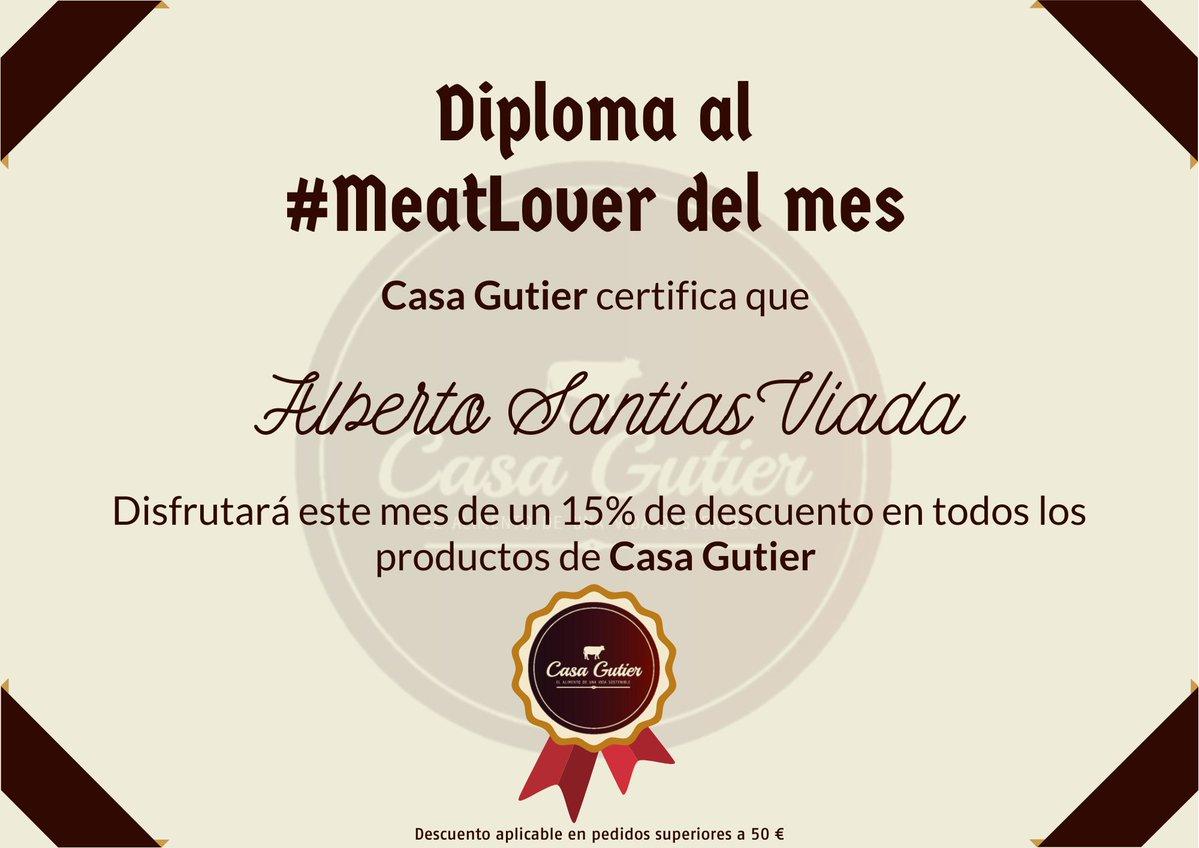 Como cada mes, nos toca entregar el 📜👨🏼🎓 #diploma al mejor cliente de #CasaGutier, y el mejor 🥩😍 #MeatLover de este mes de #noviembre, ha sido...  👏🏼 ¡¡ Alberto Santias Viada, de Madrid !! 👏🏼  🎊🎉 ¡¡ENHORABUENA!! 🎊🎉 https://t.co/JhBGWgwtjy
