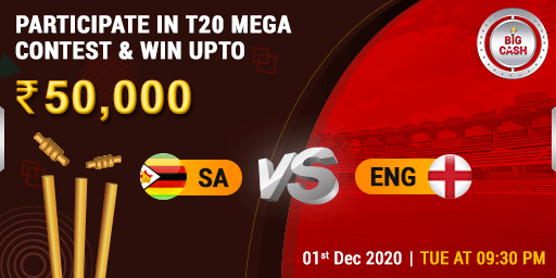 #SAvENG Set your alarms and stay tuned… on 1st Dec at 9:30 PM! Make your #Bigcash for #t20 NOW! 👉🏼  Pool prize - ₹ 50,000 #YeApnaGameHai ##cricket #fantasy #match