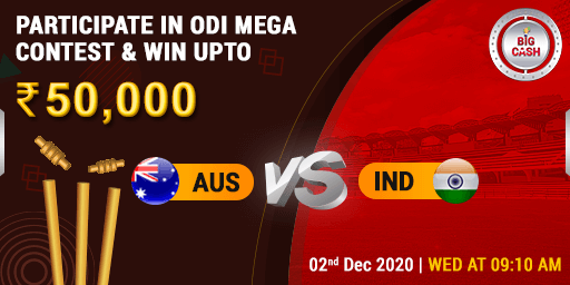 Presenting to you the #AUSvIND Mega Contest! 👏🏼 🥁 You could be the next victor, make your #Bigcash for #ODI NOW! 👉🏼  Join the action on 2nd Dec at 9:10 AM Pool prize - ₹ 50,000 #YeApnaGameHai ##cricket #fantasy #match