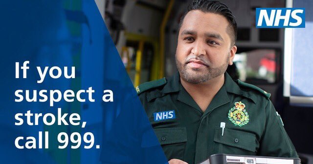 Pls share😊  If you experience signs of stroke ring 999 immediately, think FAST   F - Face A - Arm S - Speech T - Time  #Stroke is a medical emergency, stroke services are operating normally despite #Covid19   Please do not delay, any of these signs #FAST ring 999 straight away https://t.co/Ek1Zxm9G2N