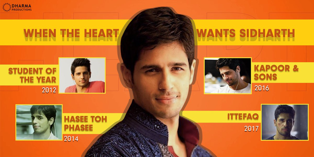 Here are some recommendations when the heart wants to watch Sidharth! ♥️ @SidMalhotra   #StudentOfTheYear #HaseeTohPhasee #KapooAndSons #Ittefaq #SOTY #HTP