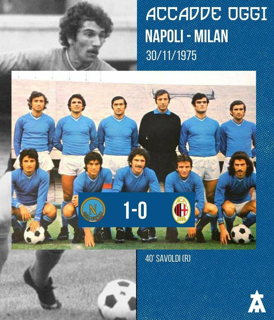 🔙Accadde Oggi. Il 30 Novembre 1975, il Napoli batteva 1-0 il Milan, in Serie A, grazie al goal di Giuseppe Savoldi. #NonSaraiMaiSolo #ForzaNapoliSempre #SSCNapoli #Napoli #TeamArrow #NapoliMilan #Milan #GiuseppeSavoldi #Giuseppe #Savoldi #1975 #Serie…