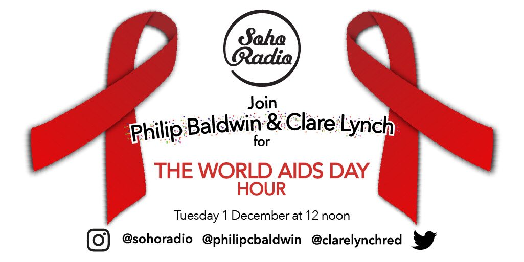24 hours to go! Tune in to @sohoradio on Tues 1 Dec from 12 noon (GMT), where @clarelynchred and I will be co-hosting the #WorldAIDSDayHour. Our guests are @tristanjbarber, @SDoughtyMP, @deborahagold, @chrisohanlon_ and @JustJuno1! @NAT_AIDS_Trust   @Positively_UK #WorldAIDSDay