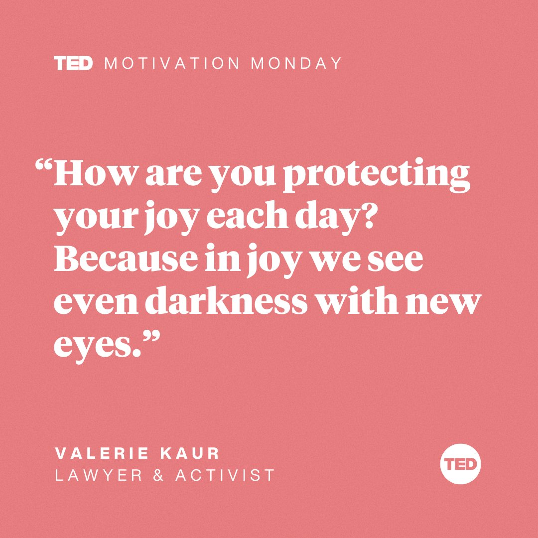 How can you step into your joy today — and how can you let it transform your relationship with those around you?  Watch lawyer and activist @ValarieKaur's talk on the revolutionary power of leading with love here:  #MotivationMonday
