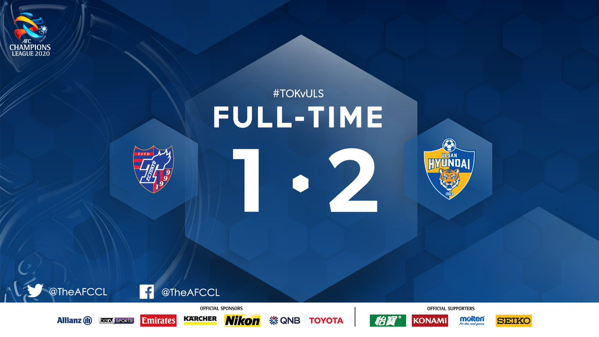 FULL-TIME | 🇯🇵 @fctokyoofficial 1-2 Ulsan Hyundai 🇰🇷  😇 Yoon Bit-garam was the hero as Ulsan sealed their place in the #ACL Round of 16 following a come-from-behind 2-1 win over FC Tokyo.   #TOKvULS | #ACL2020