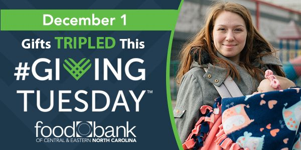 #GivingTuesday triple match for @FoodBankCENC means every $10 you donate can triple to provide 150 meals!  There's never been a better time to give:     #NoOneGoesHungry