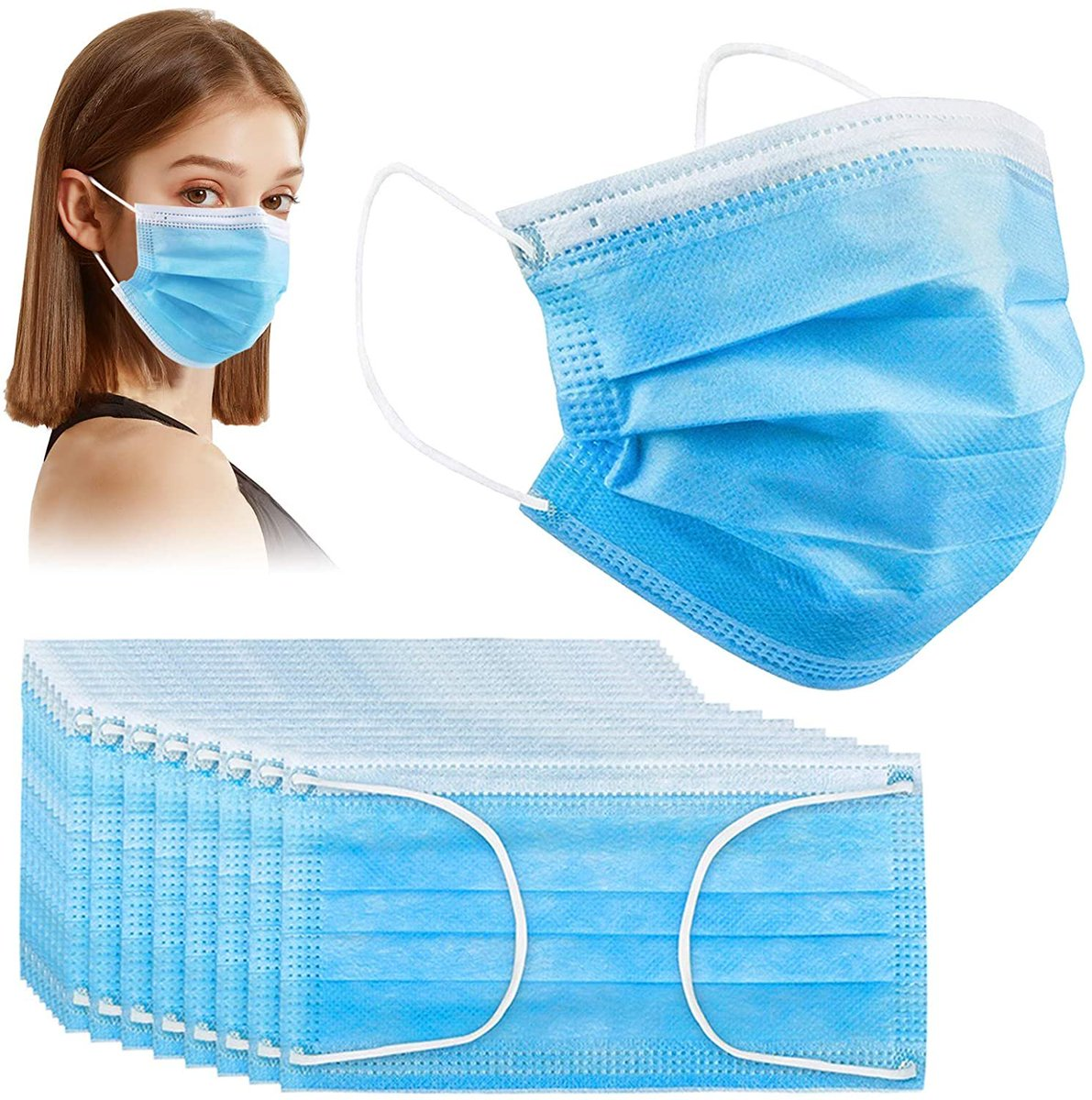 50 Pcs Disposable Face Masks, Acewin 3-Ply Face Mask  Only $5.49!!  Use Promo Code 50ZP9R3Z  2